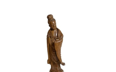 Figure - Hardwood - Guanyu - Carved Wooden Figure of Guanyin , H- 47 cm. 19th Century - China - Qing Dynasty (1644-1911)