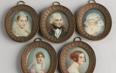 Five 19th century finely painted miniature paintings