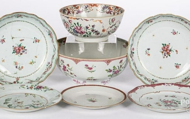 Four Chinese export porcelain bowls, etc.
