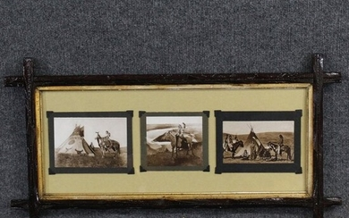 Framed Triptych Native American Indian Life Prints