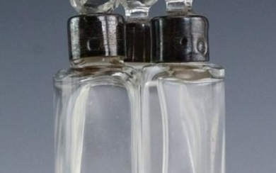 French 950 Silver Mounted Crystal Perfume Bottles