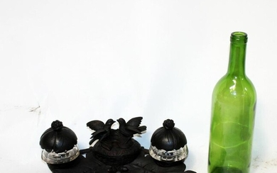 French Black Forest inkwell with birds