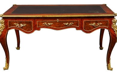 French Louis XV Style Bureau Plat Writing Desk