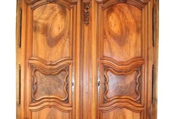 French Provincial 18th c double dome top armoire