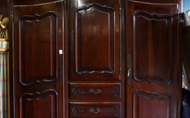 French Provincial Louis XV Style mahogany armoire