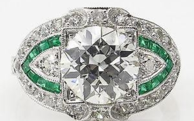 GIA 3.10ct Estate Vintage Old European Diamond Green