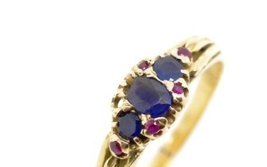 Gemstone and 18ct yellow gold ring ,marked 18ct pall. A/F to...