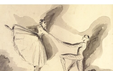 """Gluck, ink and wash, dancers, signed and dated 1941, 9.5"""" x ..."""