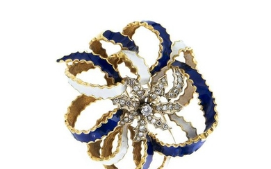 Gold stud with diamonds and enamels