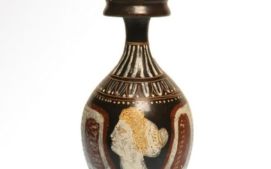Greek Gnathian Pottery Bottle, Attributed to the White