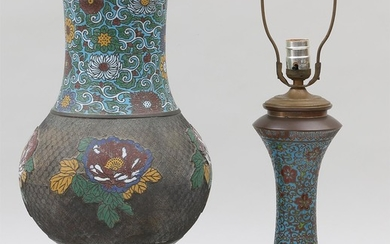 Group of (2) bronze cloisonne vases mounted as lamps. FR3SH.