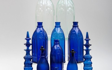 Group of Cobalt Glass Articles