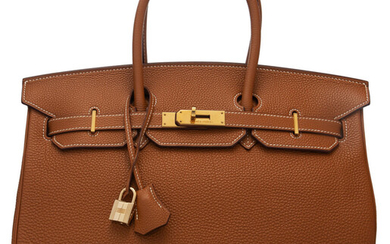 Hermès 35cm Gold Togo Leather Birkin Bag with Gold...