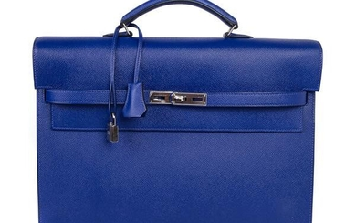 Hermes Kelly Depeche 38 Briefcase Rare Electric Blue