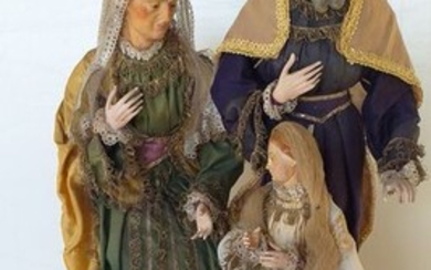 Holy Family - Folk Art - Earthenware, Glass, Textiles, Wood - end 800 early 900