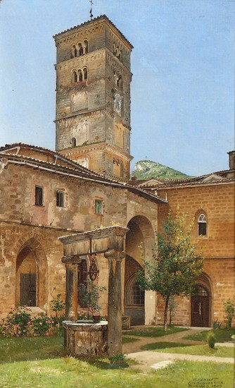 I. T. Hansen: View from the Abbey of Saint Scholastica in Subiaco. Signed and dated I. T. Hansen Sta. Scolastica Subiaco 1907. Oil on canvas. 28×17 cm.