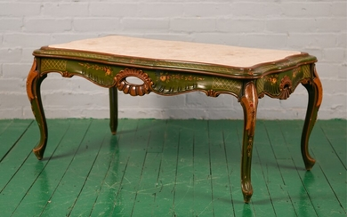 ITALIAN 1940'S PAINT DECORATED MARBLE TOP TABLE