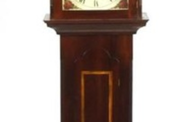 Inlaid mahogany long case clock with Franz Hermle