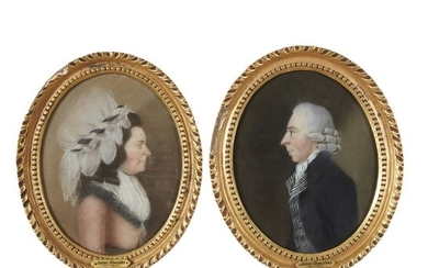 James Sharples Sr. (1751-1811) Pair of portraits: lady and...