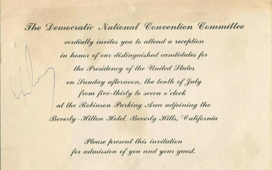 John F. Kennedy Signed Democratic National Convention