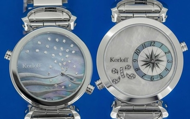 Korloff - 49 Diamonds for 0,20 Carats 2 Timezones Reversible White Mother of Pearl Dial Swiss Made- LM1/2BR - Women - BRAND NEW