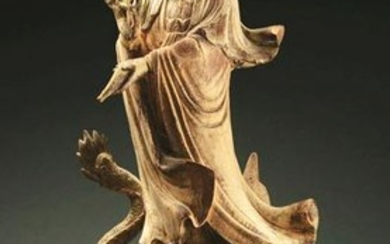 LARGE CHINESE CARVED POLYCHROME FIGURE OF QUANYIN.