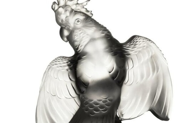 Lalique Frosted Glass Crystal Cockatoo Sculpture