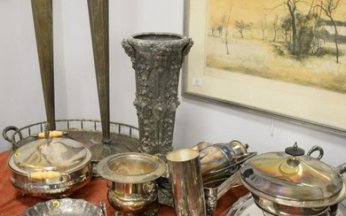 Large group of silver plate and metal items to include