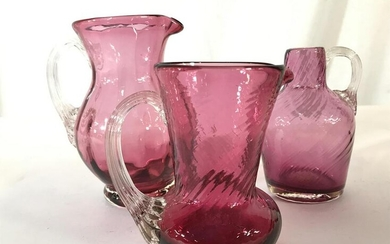 Lot 3 Petite Cranberry Glass Pitchers