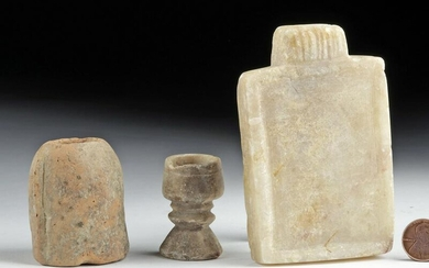 Lot of 3 South Arabian Alabaster, Stone & Pottery Items
