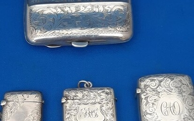 Lot understand cases with cigarette box (4) - .925 silver - U.K. - 1892-1921