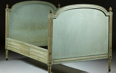 Louis XVI Style French Carved Polychromed Beech Lit du