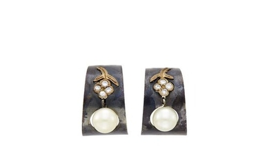 Marsh Pair of Oxidized Steel, Gold, Cultured Pearl and Diamond Hoop Earclips