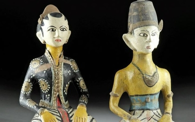 Matched 20th C. Bali Polychrome Pottery Coin Banks