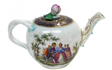 Meissen Hand Painted Porcelain Teapot, 19th Century