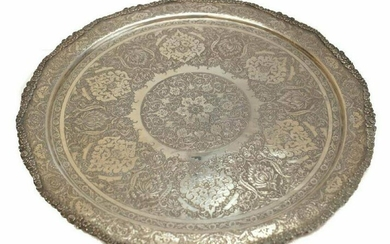 Middle Eastern Round Silver Tray, 1st Half 20th C.