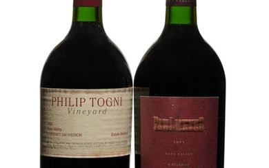 Mixed California Magnums, Philip Togni, Cabernet Sauvignon 1994 Bin-soiled labels Levels into neck magnum (2) Pahlmeyer, Red 1995 Level into neck magnum (1)