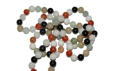 Multi Colored Jadeite Jade Bead Flapper Necklace