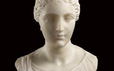 NEOCLASSICAL SCULPTOR, LATE 18th / EARLY 19th CENTURY Womanly bust...
