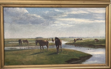 Niels Christiansen: Horses at Saltholm. Indistinctly signed. Oil on canvas. 43×72 cm.