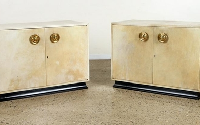 PAIR MID CENTURY MODER PARCHMENT COVERED CABINETS