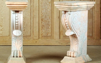 PAIR NEOCLASSICAL STYLE CARVED MARBLE PEDESTALS
