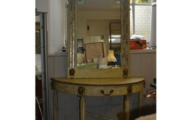 Painted hall table and wall mirror in Italian style. Lion f...