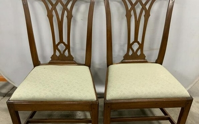 Pair Antique 18th Century Carved Wood Chairs