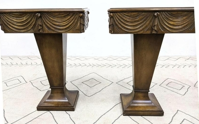 Pair DOROTHY DRAPER style Side End Tables. Drape Front