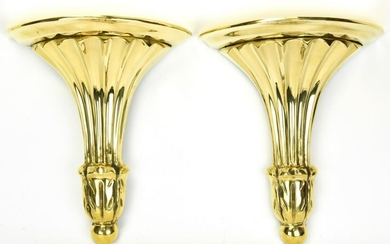 Pair Empire Style Heavy Gilt Brass Wall Brackets