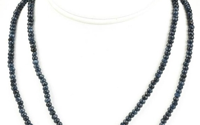 Pair Sterling Silver & Faceted Sapphire Necklaces