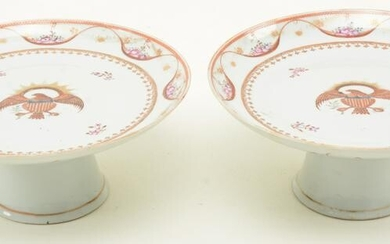 Pair of Chinese Export porcelain compotes with American