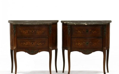 Pair of French Marquetry Inlaid Marble Top Stands