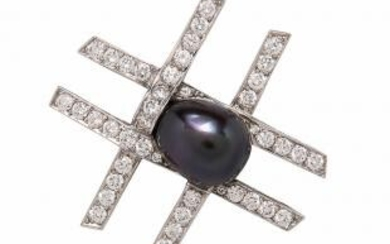 "Paloma Picasso for Tiffany & Co. Platinum, Tahitian Pearl, and Diamond ""Tic Tac Toe"" Brooch"